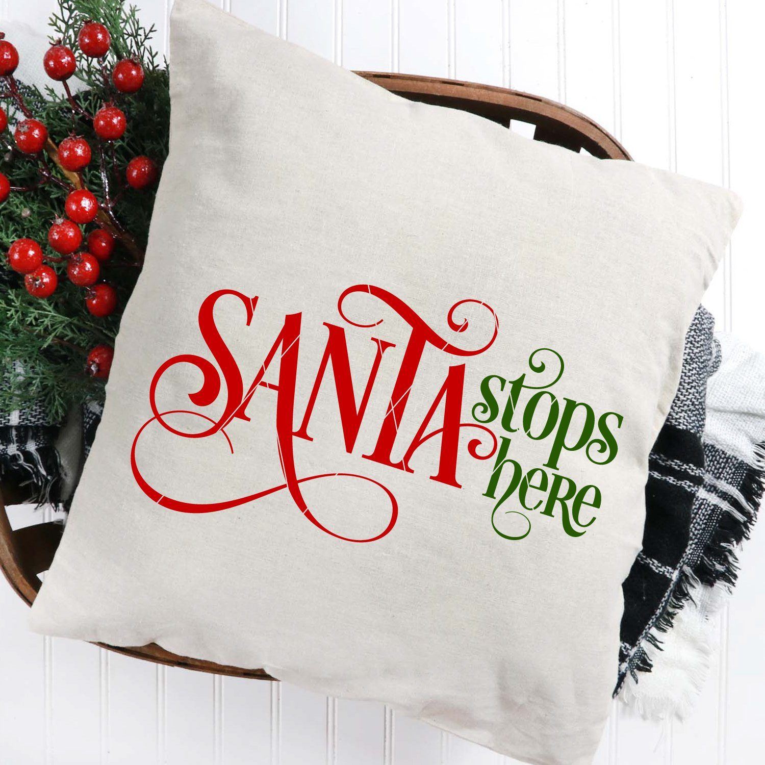 Santa Stops Here SVG File for Christmas - Commercial Use SVG Files
