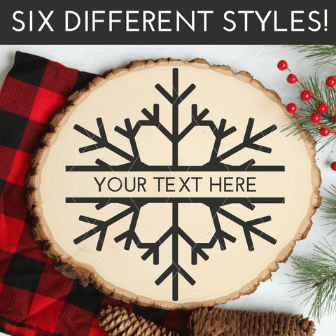 Split Snowflakes SVG File Set for Ornaments, Monograms and More
