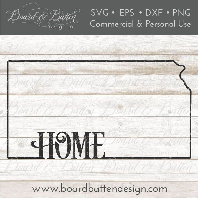 "State Outline ""Home"" SVG File - KS Kansas - Commercial Use SVG Files"
