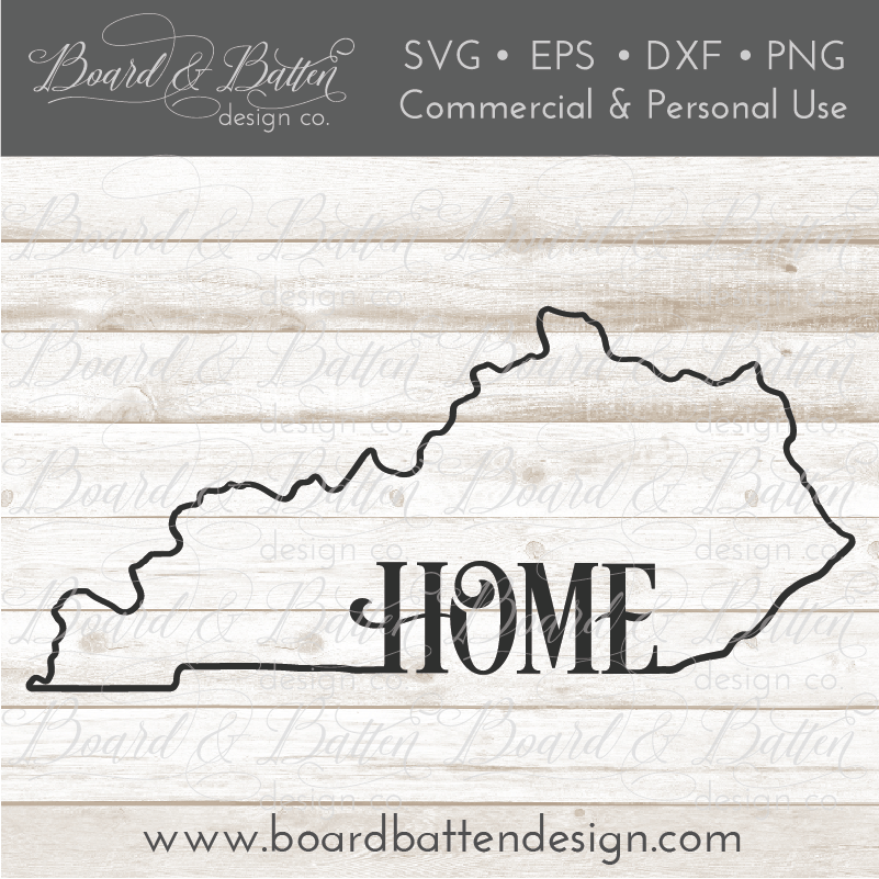 "State Outline ""Home"" SVG File - KY Kentucky"