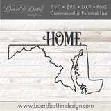 "State Outline ""Home"" SVG File - MD Maryland - Commercial Use SVG Files"
