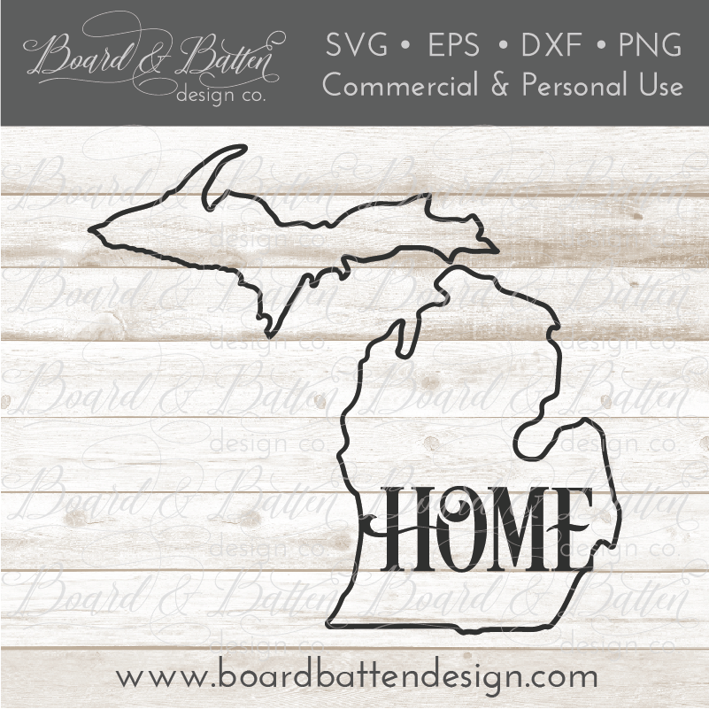 "State Outline ""Home"" SVG File - MI Michigan - Commercial Use SVG Files"