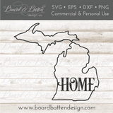 "State Outline ""Home"" SVG File - MI Michigan"