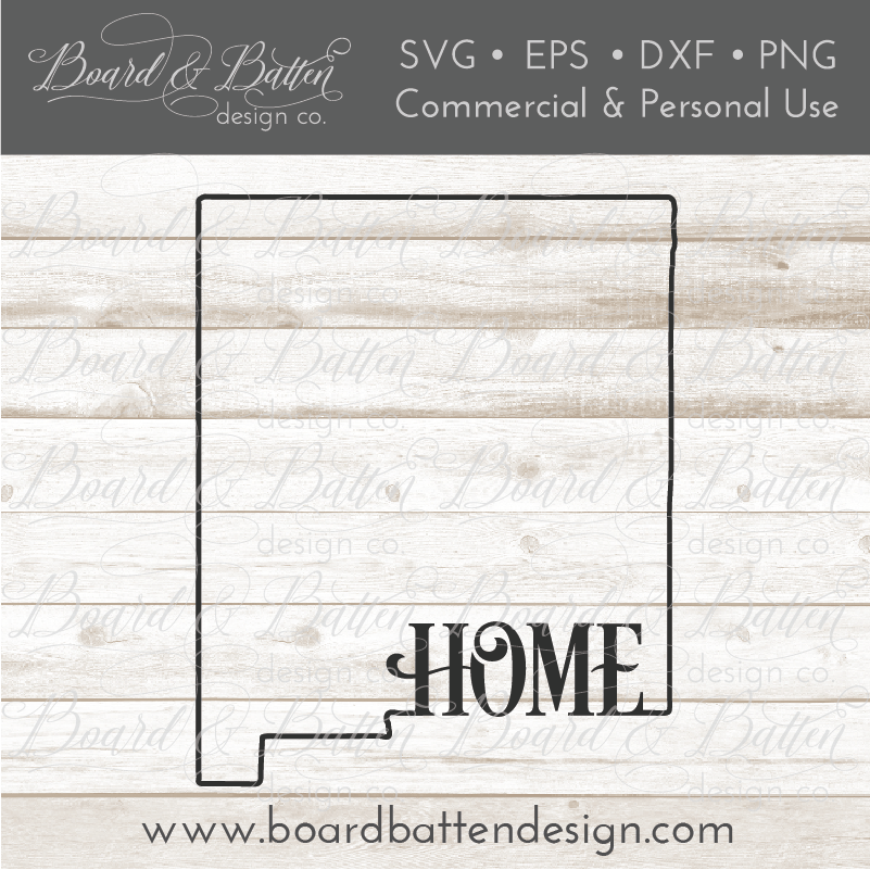 "State Outline ""Home"" SVG File - NM New Mexico - Commercial Use SVG Files"