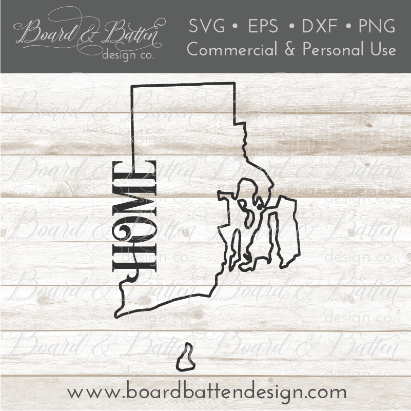 "State Outline ""Home"" SVG File - RI Rhode Island - Commercial Use SVG Files"