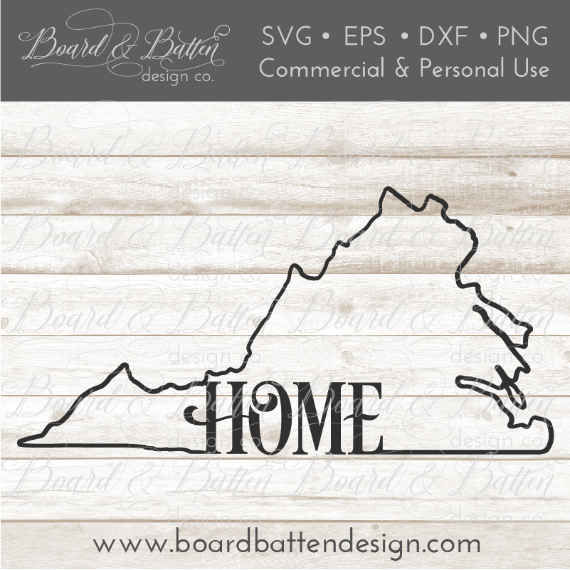 "State Outline ""Home"" SVG File - VA Virginia - Commercial Use SVG Files"