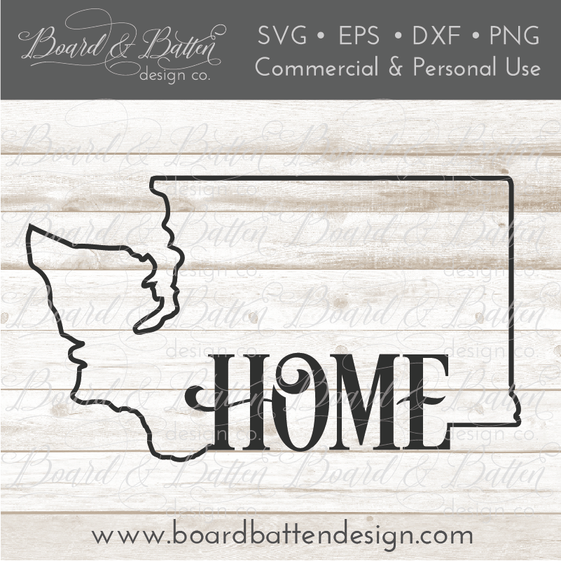 "State Outline ""Home"" SVG File - WA Washington - Commercial Use SVG Files"