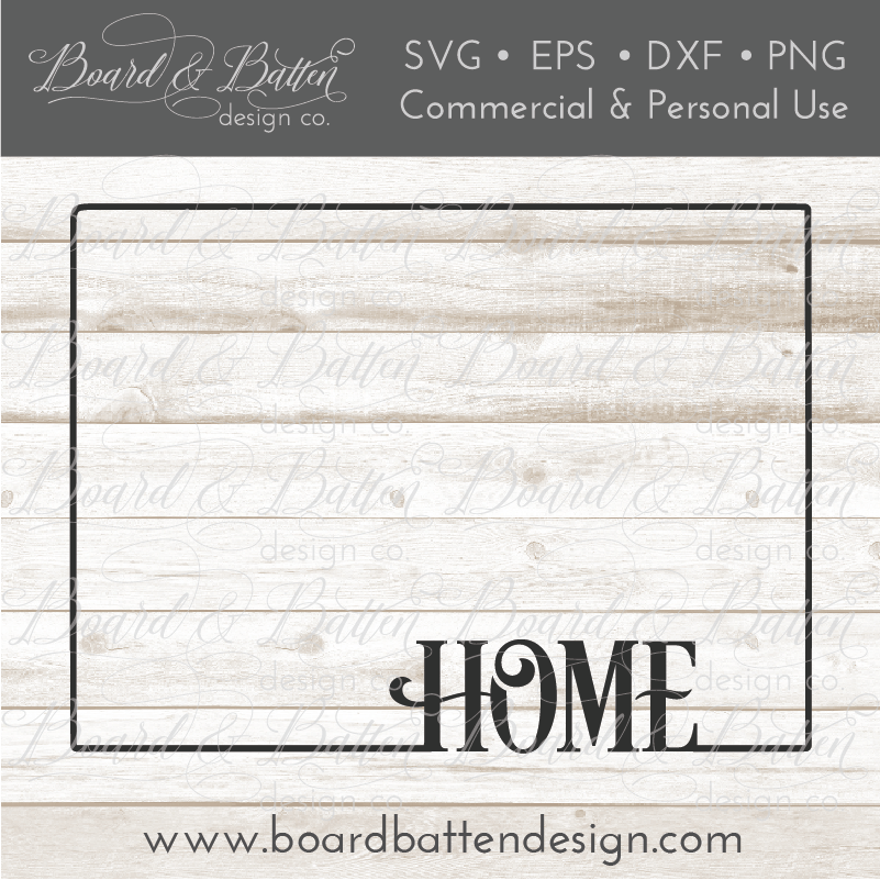 "State Outline ""Home"" SVG File - WY Wyoming - Commercial Use SVG Files"