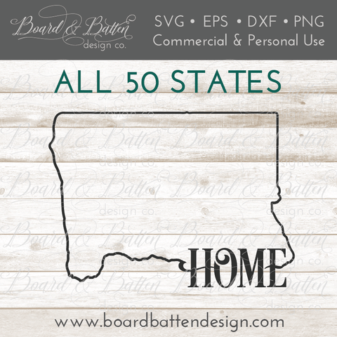 """Home"" State Outline SVG File Bundle - All 50 States"