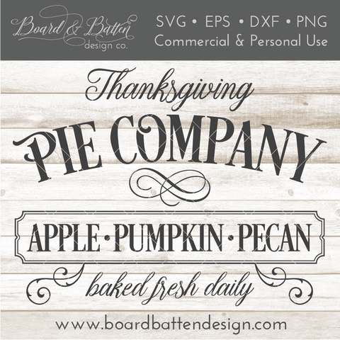 Editable Thanksgiving Pie Company Vintage SVG File