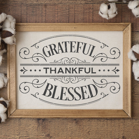 Victorian Style Grateful Thankful Blessed SVG File for Thanksgiving