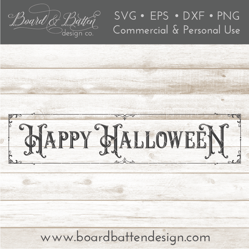 Victorian Happy Halloween Plank Size SVG File - Commercial Use SVG Files