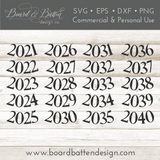 Victorian Style Happy New Year with Number Alternates SVG File - Commercial Use SVG Files