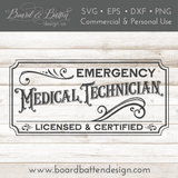 Vintage Style EMT Emergency Medical Technician SVG File - Commercial Use SVG Files