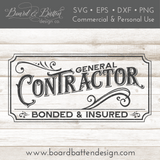 Vintage Style General Contractor Sign SVG File