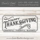 Vintage 12x24 Happy Thanksgiving SVG Cut File - Commercial Use SVG Files
