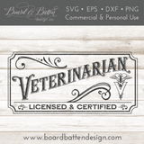 Vintage Veterinarian Sign SVG File - Commercial Use SVG Files