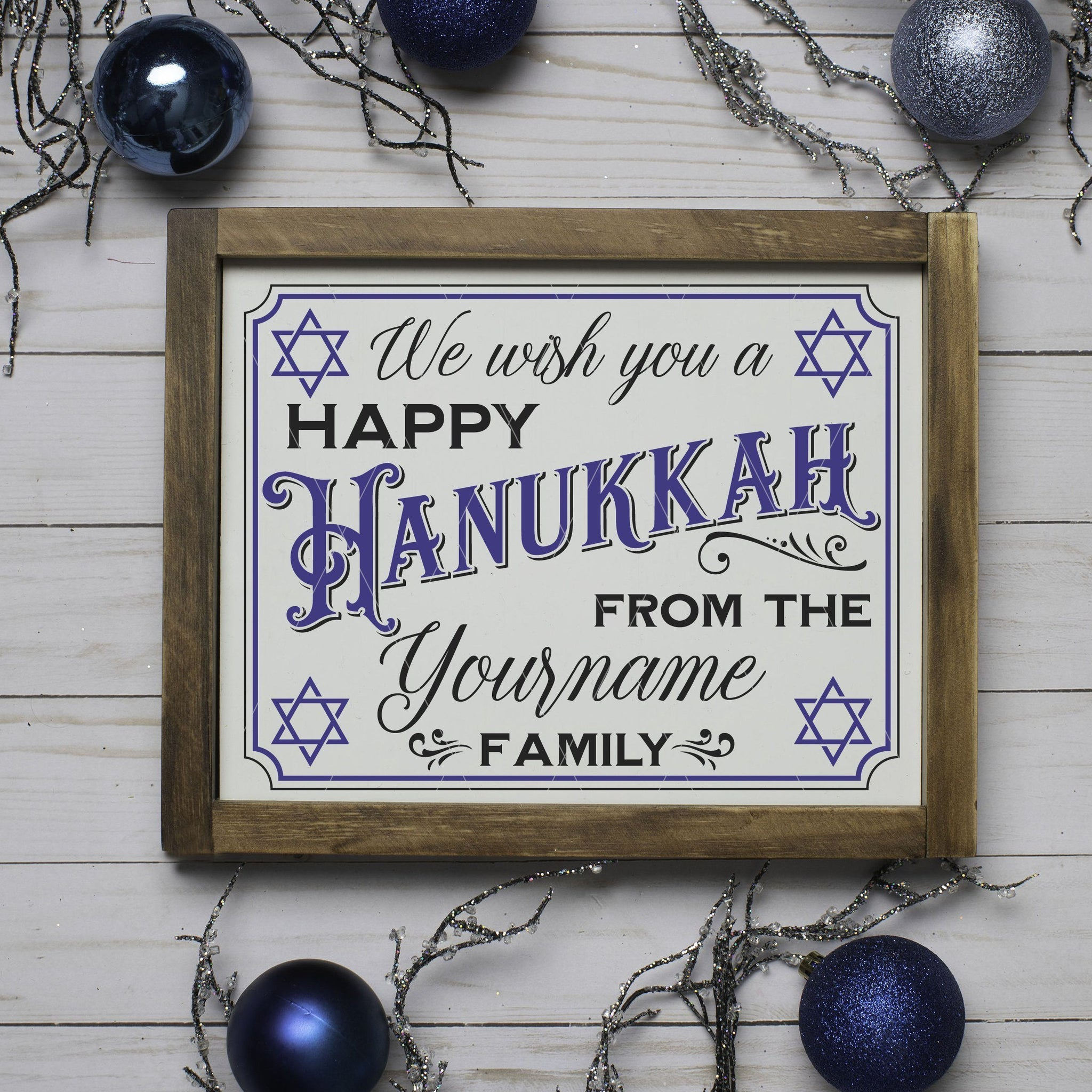 Personalizable We Wish You A Happy Hanukkah 8x10 SVG File - Commercial Use SVG Files
