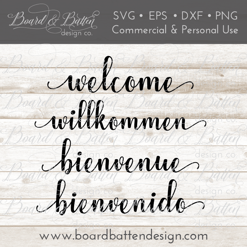 Welcome SVG File – Multi Language - Commercial Use SVG Files