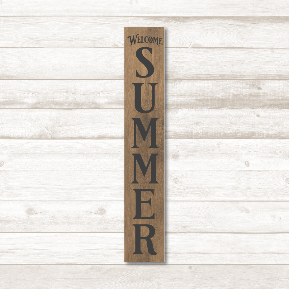 Welcome Summer Vertical Plank Sign SVG File - Commercial Use SVG Files