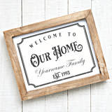 Welcome To Our Home Personalizable SVG File - Commercial Use SVG Files