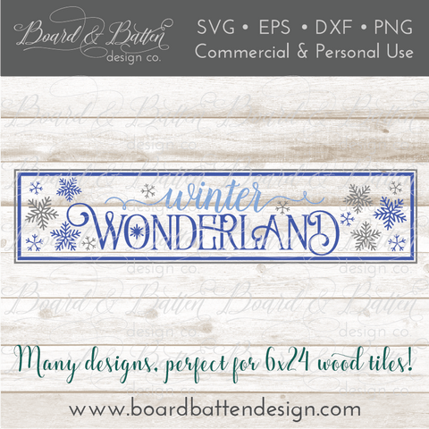 Winter Wonderland 6x24 SVG File for Wood Tiles