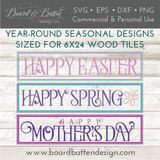 Seasonal Vintage Style Wood Tile Bundle - Commercial Use SVG Files