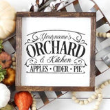 Customizable Vintage Your Name Orchard & Kitchen SVG File - Commercial Use SVG Files
