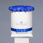 Royal Blue | Large Round White Box - Legendary Roses