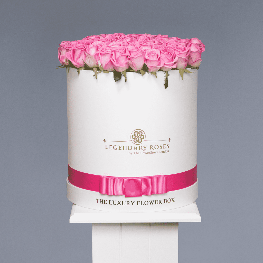 Aqua | Large Round White Box - Legendary Roses