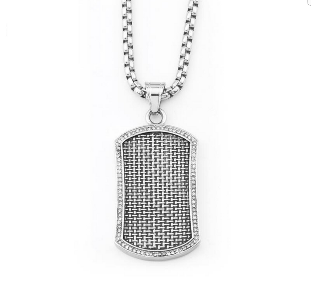 EMBOSSED DOG TAG PENDANT NECKLACE