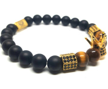 KING CROWN TIGER EYE STONE BRACELET