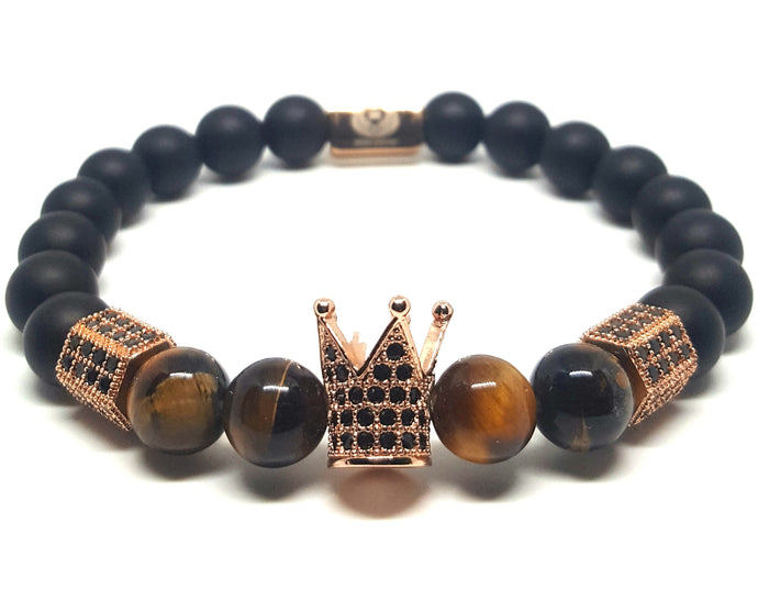 KING CROWN TIGER EYE ROSE GOLD