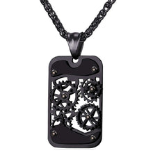 GEAR ROTATABLE PENDANT & NECKLACE/BLACK
