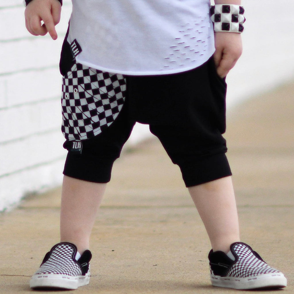 CHECKERED POCKET HAREM SHORTS