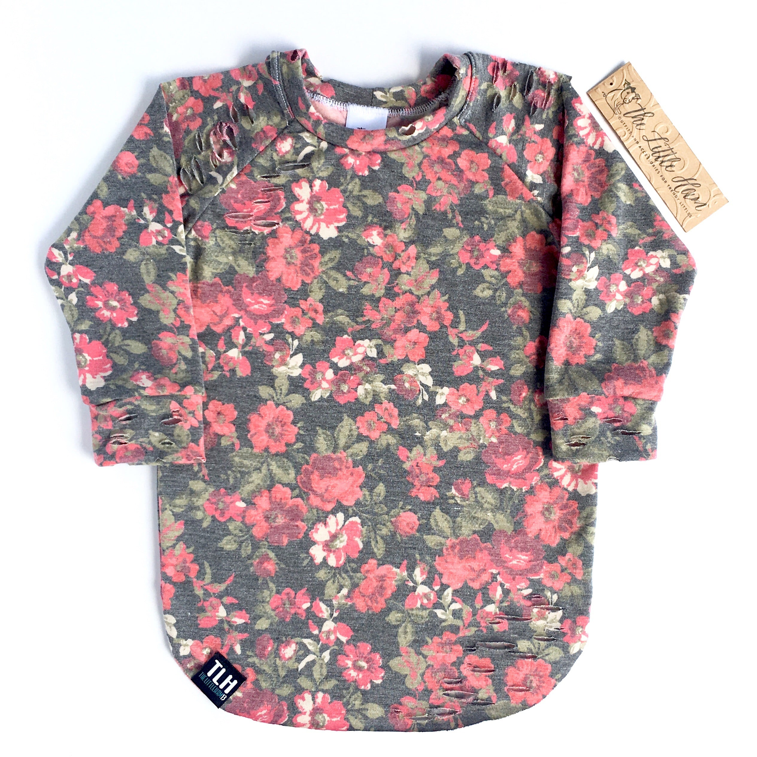 Tattered Floral Tee/Raglan