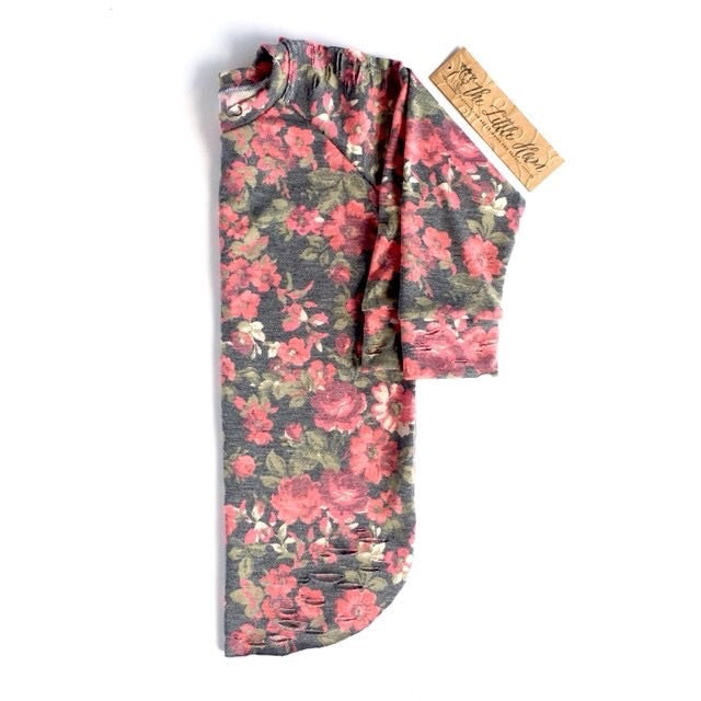Custom Floral Distressed Raglan/ Adrina Leggings Set