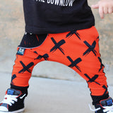 "LIMITED EDITION ""X"" Red-Orange Harem Joggers (RTS)"