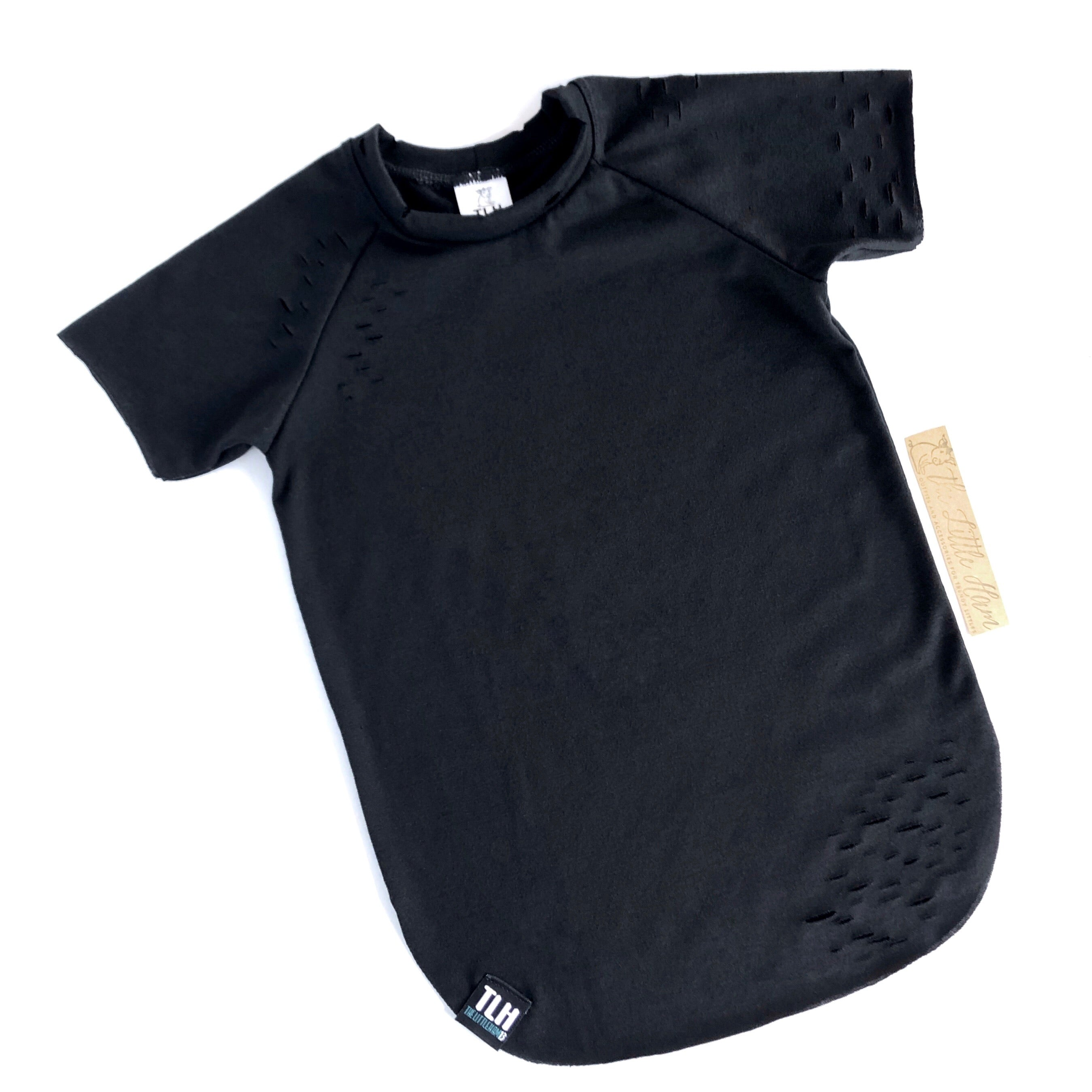 Black Distressed Tee