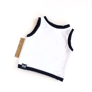 WHITE/BLACK DISTRESSED CROPPED TANK