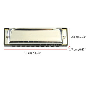 Better!! 1pc Silver Swan Harmonica 10 Hole Key of C for Blues Rock Jazz Folk Includes Case!!