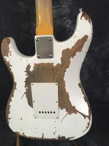 Firehawk Electric Guitar! New AND Handmade! White Retro Relic!! Feel The Mojo! Awesome!