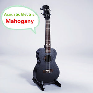 Acoustic Electric Ukulele 21 23 26 Inch 4 String Hawaiian Guitar Black Mahogany. Easy To Play!