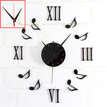 New 1pc Modern DIY Music Note Mirror Surface Wall Clock Sticker Home Office Black.