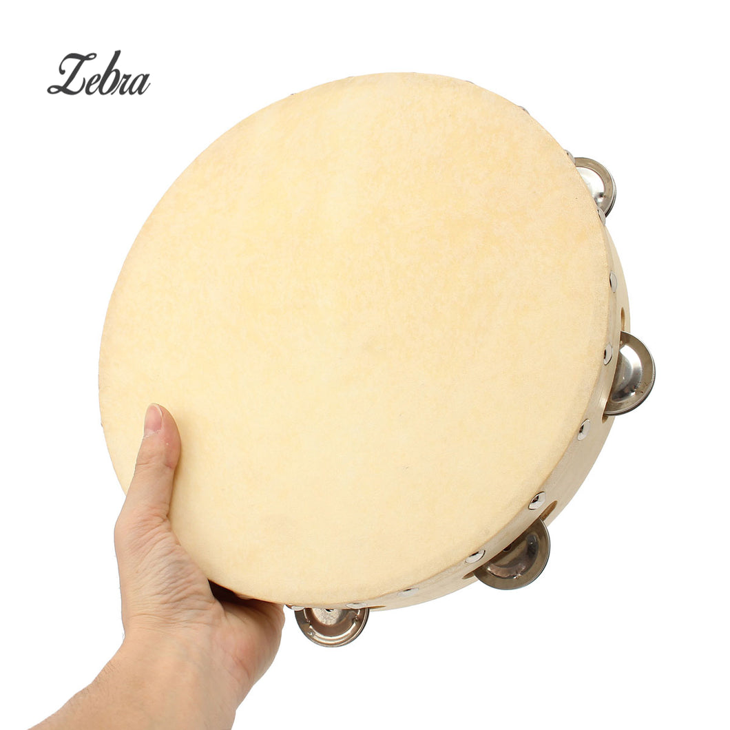 Zebra 10 inch Wood Round Hand Held Tambourine with 8pcs Bell For Children Percussion