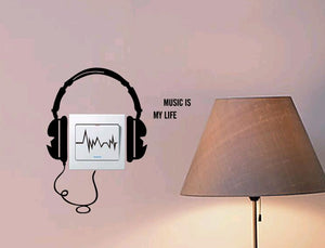 DIY Headset Switch Socket Wall Sticker Music Headphones. Home Decoration. Musical Decor.