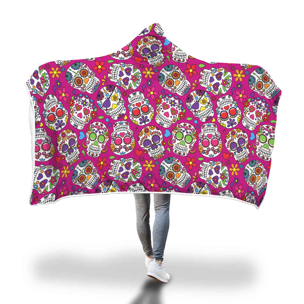 Sugar Skulls Printed Pink Hooded Blanket