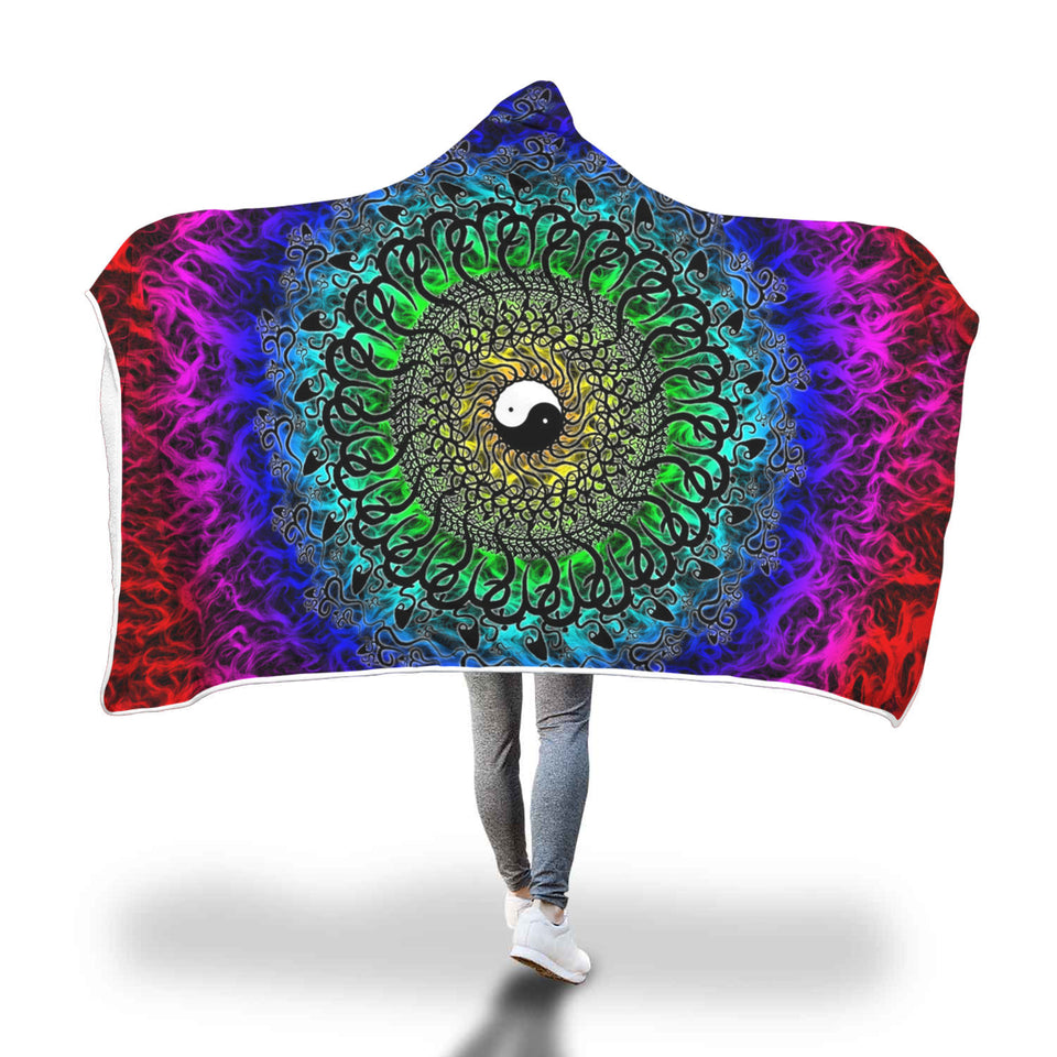 Find Your Balance Yin Yang Hooded Blanket