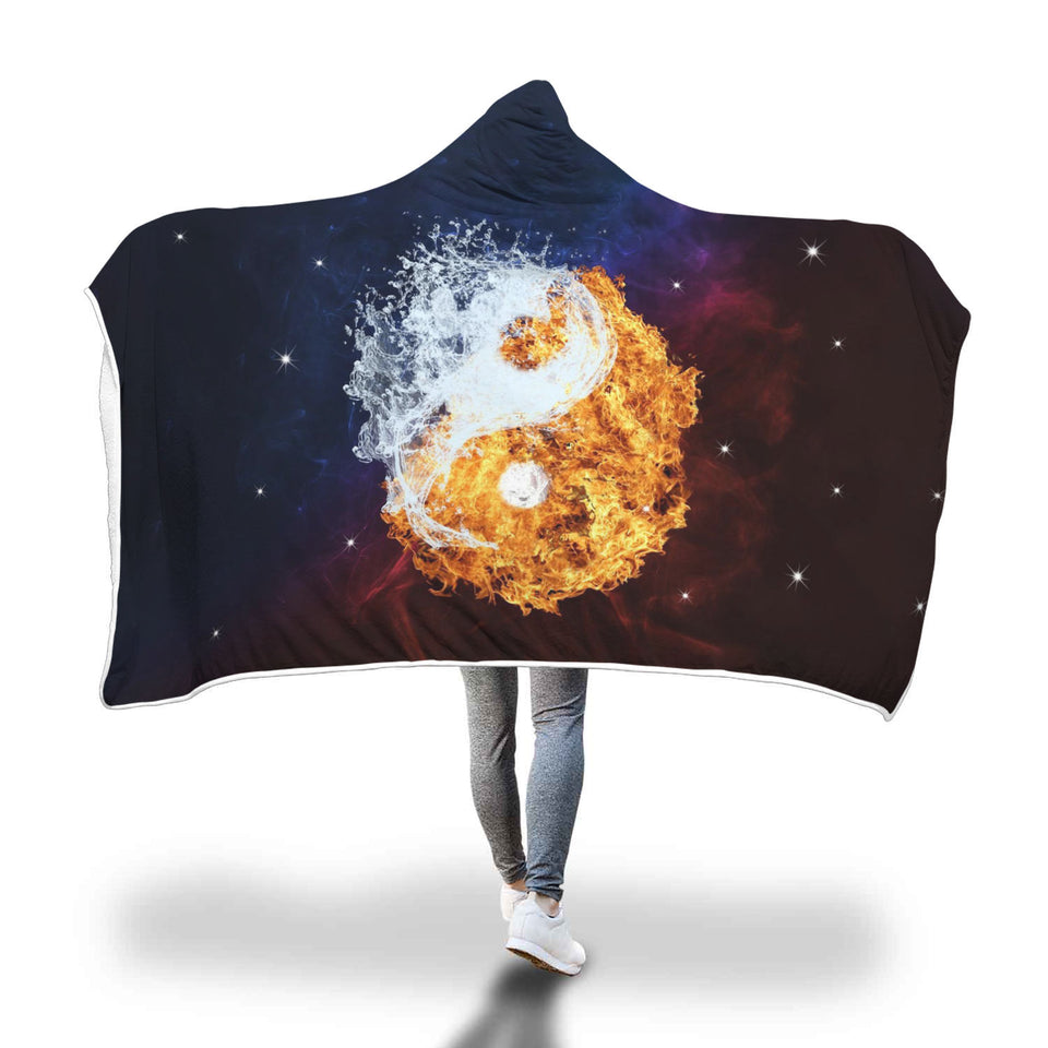 Fire With In Me Yin Yang Hooded Blanket