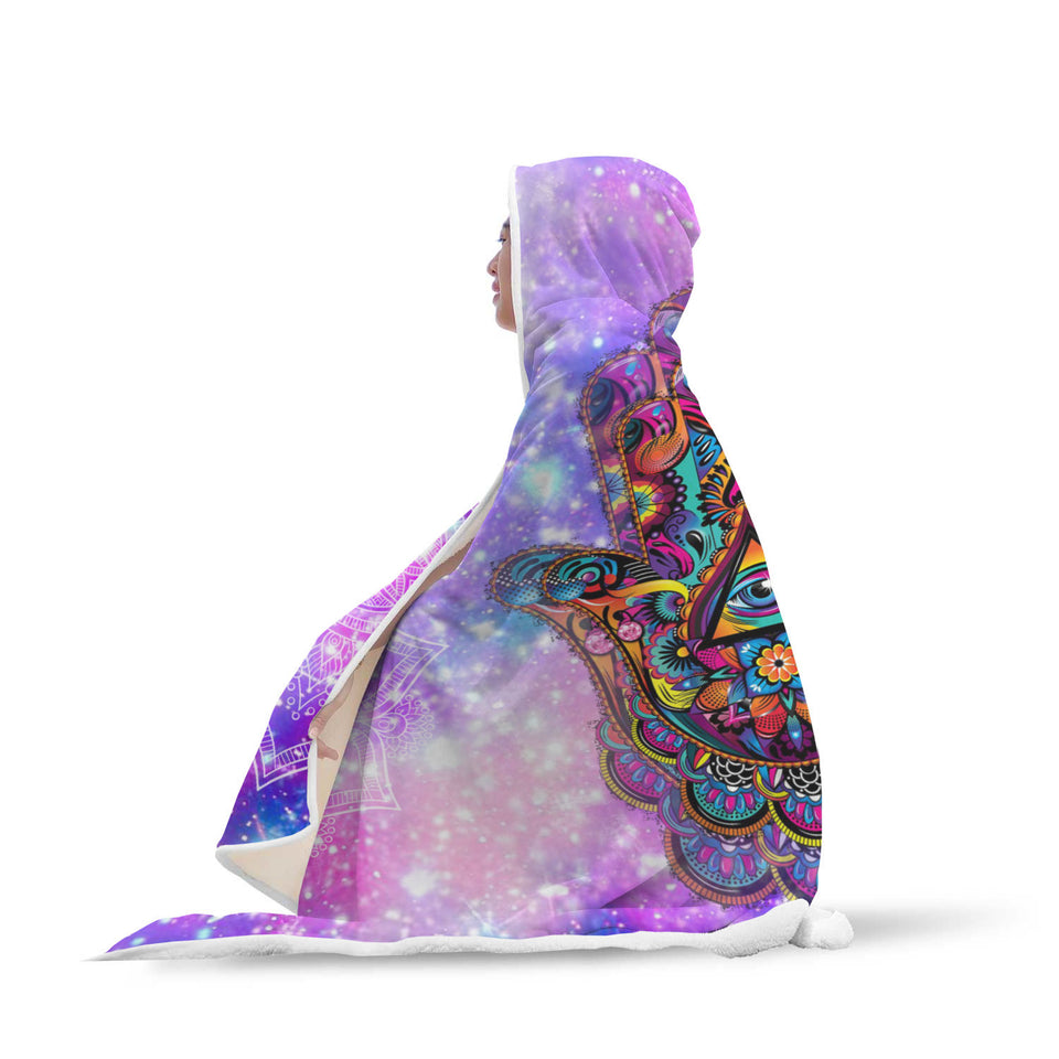 Colorful Hamsa Hand Hooded Blanket